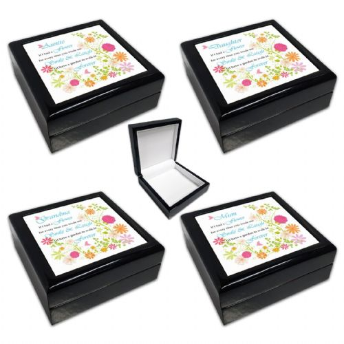 If I Had A Flower Relation Black Square Jewellery Box